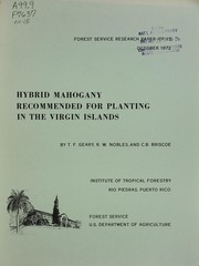 Cover of: Hybrid mahogany recommended for planting in the Virgin Islands