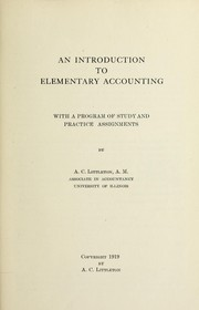 Cover of: An introduction to elementary accounting | A. C. Littleton