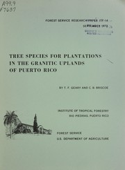 Cover of: Tree species for plantations in the granitic uplands of Puerto Rico