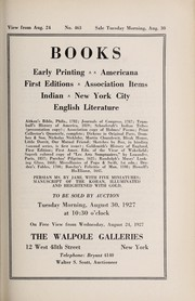 Cover of: Books; early printing, Americana, first editions, association items, Indian, New York City, English literature