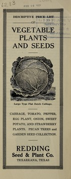 Cover of: Descriptive price list of vegetable plants and seeds | Redding Seed & Plant Co