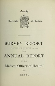 Cover of: [Report 1925] | Bolton (Greater Manchester, England). County Borough Council