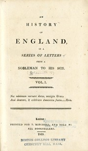 Cover of: An history of England in a series of letters from a nobleman to his son
