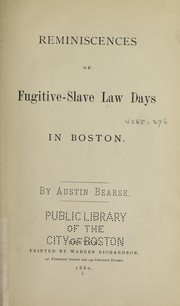 Cover of: Reminiscences of fugitive-slave law days in Boston