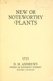 Cover of: New or noteworthy plants | D.M. Andrews (Firm)
