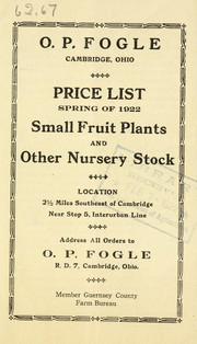 Cover of: Price list spring of 1922 | O.P. Fogle (Firm)
