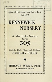 Cover of: Special introductory price list 1921-22 | Kennewick Nursery