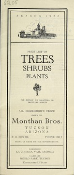 Cover of: Price list of trees, shrubs, plants | Monthan Brothers