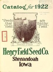 Cover of: Catalog for 1922 | Henry Field Seed Company