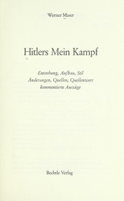 Cover of: Hitlers Mein Kampf