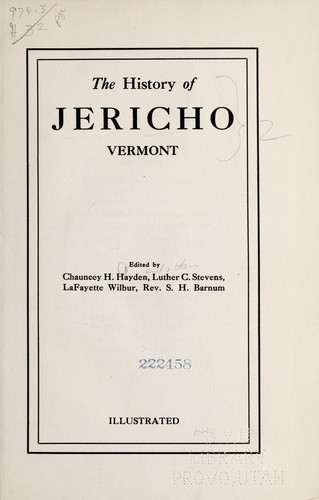 The history of Jericho, Vermont by Chauncey H. Hayden