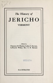 Cover of: The history of Jericho, Vermont | Chauncey H. Hayden
