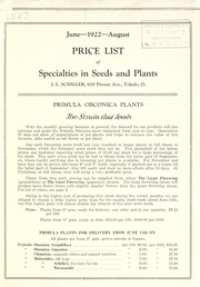 Cover of: Price list of specialties in seeds and plants | J.L. Schiller (Firm)