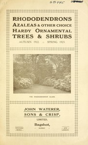 Rhododendrons, azaleas & other choice hardy ornamental trees & shrubs, autumn 1922 spring 1923