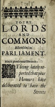 Cover of: To the Lords & Commons assembled in Parliament | Gerbier, Balthazar Sir