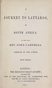 Cover of: A journey to Lattakoo, in South Africa