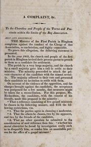 Cover of: A complaint against the clergy of the Bay Association, Plymouth County, Massachusetts
