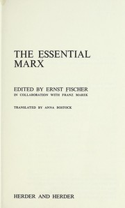 Cover of: The essential Marx