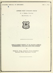 Cover of: Taxes on forest property in two selected counties in Mississippi, 1936-1939, with state averages