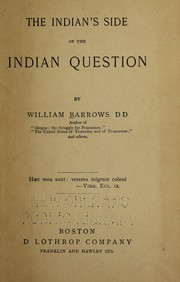 Cover of: The Indian's side of the Indian question