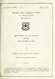 Cover of: The extent of tax default in the Gulf States in 1934