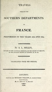 Cover of: Travels through the southern departments of France