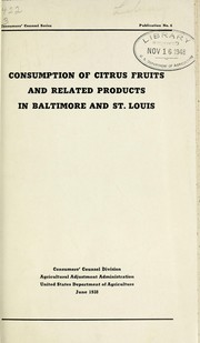 Cover of: Consumption of citrus fruits and related products in Baltimore and St. Louis
