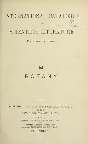 International catalogue of scientific literature, 1901-1914 by Royal Society (Great Britain)