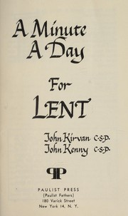 Cover of: A minute a day for Lent