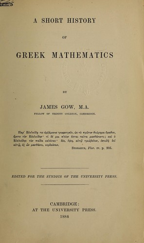 A short history of Greek mathematics by Gow, James