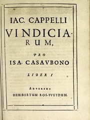 Cover of: Jacobi Cappelli Vindiciae pro Isaaco Casaubono by Jacques Cappel