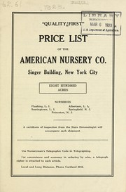 Cover of: Price list of the American Nursery Company | American Nursery Company