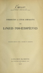 Cover of: Introduction a   le tude comparative des langues indo-europe ennes
