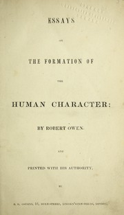 Cover of: Essays on the formation of the human character