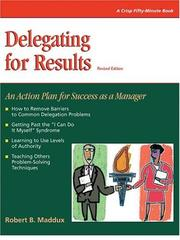 Cover of: Delegating for results