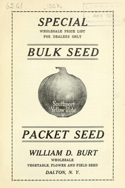 Cover of: Special wholesale price list for dealers only | William D. Burt (Firm)