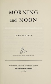 Cover of: Morning and noon