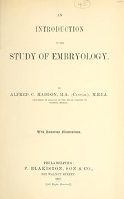 Cover of: An introduction to the study of embryology