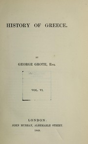 Cover of: History of Greece | George Grote