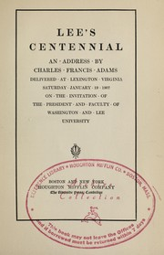 Cover of: Lee's centennial