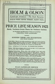 Cover of: Price list, season 1923 | Holm & Olson