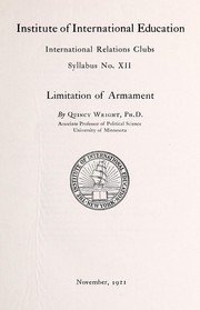 Cover of: Limitation of armament