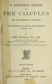 Cover of: An elementary treatise on the calculus for engineering students