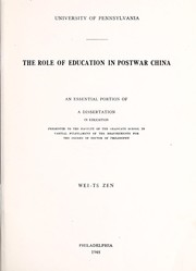 Cover of: The role of education in postwar China