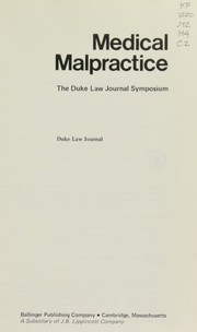 Cover of: Medical malpractice |