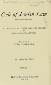 Cover of: Code of Jewish law