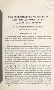 Cover of: The intermixture of races in Asia Minor: some of its causes and effects