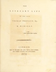 Cover of: The literary life of the late Thomas Pennant, esq