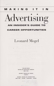 Cover of: Making it in advertising