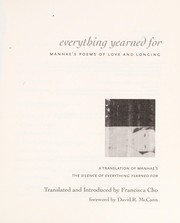 Cover of: Everything yearned for | Francisca Cho